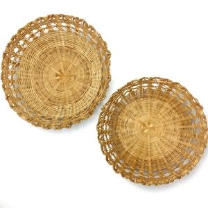 VINTAGE Woven Wicker Bohemian Basket Bundle of 2